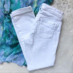 {GAP} Distressed White Cuffed Jeans